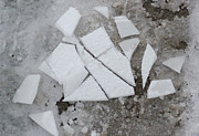 Slush Digital Art Prints - Broken Ice on Sidewalk Print by Peter J Sucy