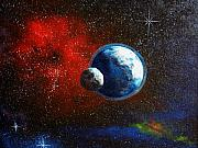 Outerspace Paintings - Broken Moon by Murphy Elliott