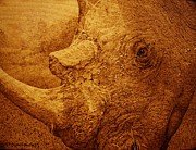 Wood Burn Pyrography Prints - Broken Rhino Print by Steven Hawkes