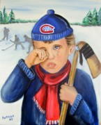 Hockey Player Painting Originals - Broken stick broken heart by Arthur Antille