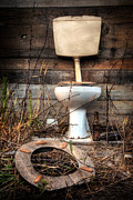 Weathered Metal Prints - Broken Toilet Metal Print by Carlos Caetano