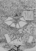 Wine Bottle Drawings - Broken umbrella by John Stuart Webbstock