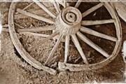 Kayecee Spain Framed Prints - Broken Wagon Wheel- Fine Art Framed Print by KayeCee Spain