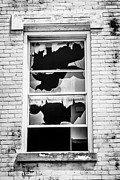 Abandoned Houses Posters - Broken Window Glencoe-Auburn Cincinnati Ohio Poster by Paul Velgos