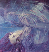 Purple Paintings - Broken wings by Dorina  Costras