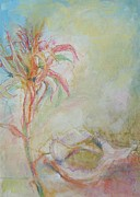 St. Augustine Mixed Media Posters - Bromeliad with Broken Whelk Poster by Nancy Hamlin-Vogler