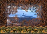 Batik Digital Art Posters - Bromo Batik Volcano Image with Batik border Poster by Jane McDougall