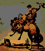 Horse Drawing Digital Art Posters - Bronc Rider Poster by George Pedro