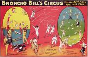 Performers Painting Posters - Bronco Bills Circus Poster by English School