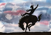 Cowboy Colors Framed Prints - Bronco Busting Framed Print by Sharon Mick