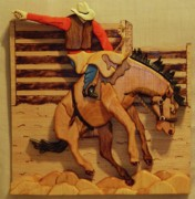 Cowboy Sculpture Posters - Broncrider Poster by Russell Ellingsworth