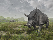 Paleontology Prints - Brontotherium Wander The Lush Late Print by Walter Myers