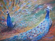 Bronx Paintings - Bronx Peacocks by Jan VonBokel