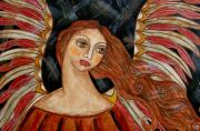 Folk Art Paintings - Bronze Angel by Rain Ririn