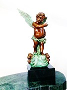 Brown Sculpture Posters - Bronze Angel Poster by Unique Consignment