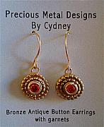 Gold Earrings Art - Bronze Antique Button Earrings with garnets by Cydney Morel-Corton