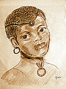 Sepia Ink Drawings - Bronze Beauty by Jacqui Kilcoyne