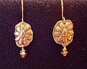 Gold Earrings Art - Bronze flowers with swarovski crystals by Cydney Morel-Corton