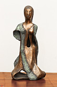 Hollow Sculptures - Bronze Hollow Lady in Gown Front sculpture in bronze and copper green long hair  by Rachel Hershkovitz