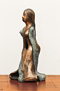 Long Sculpture Framed Prints - Bronze Hollow Lady in Gown Left View 3 sculpture in bronze and copper green long hair Framed Print by Rachel Hershkovitz
