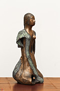Long Sculpture Framed Prints - Bronze Hollow Lady in Gown Right View 2 sculpture in bronze and copper green long hair  Framed Print by Rachel Hershkovitz