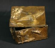 Wyoming Reliefs Prints - Bronze Hummingbird Box Print by Dawn Senior-Trask