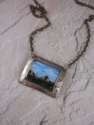 Resin Jewelry - Bronze Landscape Necklace by Sara Young
