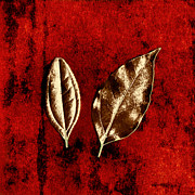 Scanography Framed Prints - Bronze Leaves on Red Framed Print by Dolly Mohr