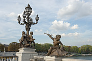 Candelabra Metal Prints - Bronze sculptures on Alexandre III bridge Metal Print by Fabrizio Ruggeri