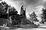 Greek Sculpture Posters - bronze statue at the burial site of archbishop makarios III on mount throni at Kykkos Troodos Poster by Joe Fox