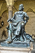 Italy Glass Art Prints - Bronze statue of Puccini in Lucca Italy Print by Gregory Dyer