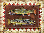 Fly Fishing Painting Prints - Brook and Brown Trout Lodge Print by JQ Licensing