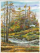 Waterscape Painting Metal Prints - Brook In Autumn Metal Print by Samuel Showman
