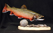 Fish Sculpture Sculptures - Brook Trout 14 inch by Eric Knowlton
