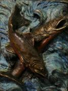 Nature Reliefs Metal Prints - Brook Trout Metal Print by Dawn Senior-Trask