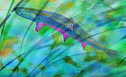 Trout Digital Art Acrylic Prints - Brook Trout In The Stream Acrylic Print by Terril Heilman