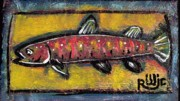 Folk Art Mixed Media Framed Prints - Brook Trout Framed Print by Robert Wolverton Jr