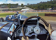 Steering Painting Posters - Brooklands From the Hot Seat  Poster by Richard Wheatland