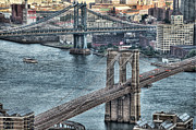 Cities Metal Prints - Brooklyn And Manhattan Bridge Metal Print by Tony Shi Photography