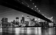 True Melting Pot Digital Art Posters - Brooklyn Bridge @ Night BW16 Poster by Scott Kelley