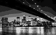 True Melting Pot Digital Art Posters - Brooklyn Bridge @ Night BW8 Poster by Scott Kelley