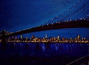 Brooklyn Bridge Painting Prints - Brooklyn Bridge   Print by Stanley Whitehouse