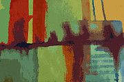 Brooklyn Bridge Painting Posters - Brooklyn  Bridge Abstract Poster by Julie Lueders