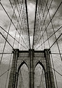 Black-and-white Framed Prints - Brooklyn Bridge Framed Print by Adrian Hopkins