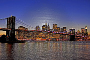 New York City Skyline Originals - Brooklyn Bridge After Dark by Randy Mendelsohn