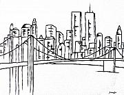 Landscapes Drawings Originals - Brooklyn Bridge by Amanda Schambon