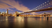Brooklyn Bridge Photo Posters - Brooklyn Bridge And Manhattan At Night Poster by J. Andruckow