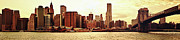New York City Skyline Art - Brooklyn Bridge and New York City Skyline Panorama by Vivienne Gucwa