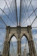 Brooklyn Bridge Prints - Brooklyn Bridge and Old Glory Print by Christopher Kirby
