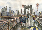 Brooklyn Bridge Painting Posters - Brooklyn Bridge Poster by Anne Gifford